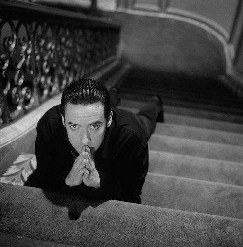 jc on stairs bw